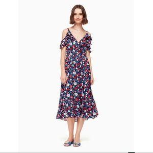 Dresses & Skirts - Kate Spade Navy Daisy Off Shoulder Silk Midi Dress